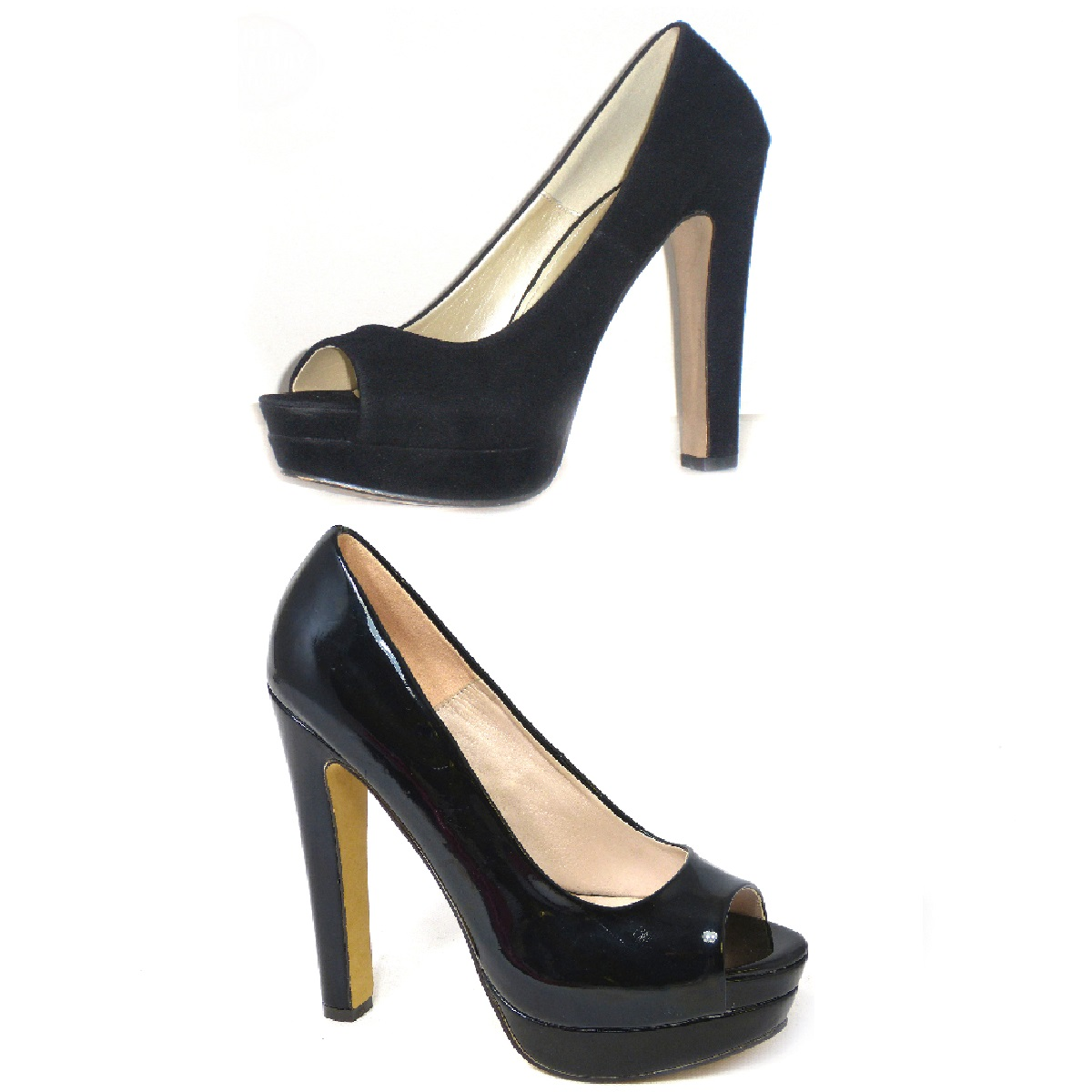 womens peep toe high heel black casual office work