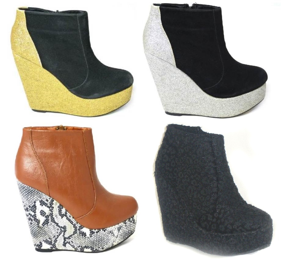 womens boots shoes ankle zip mid wedge heels rubber