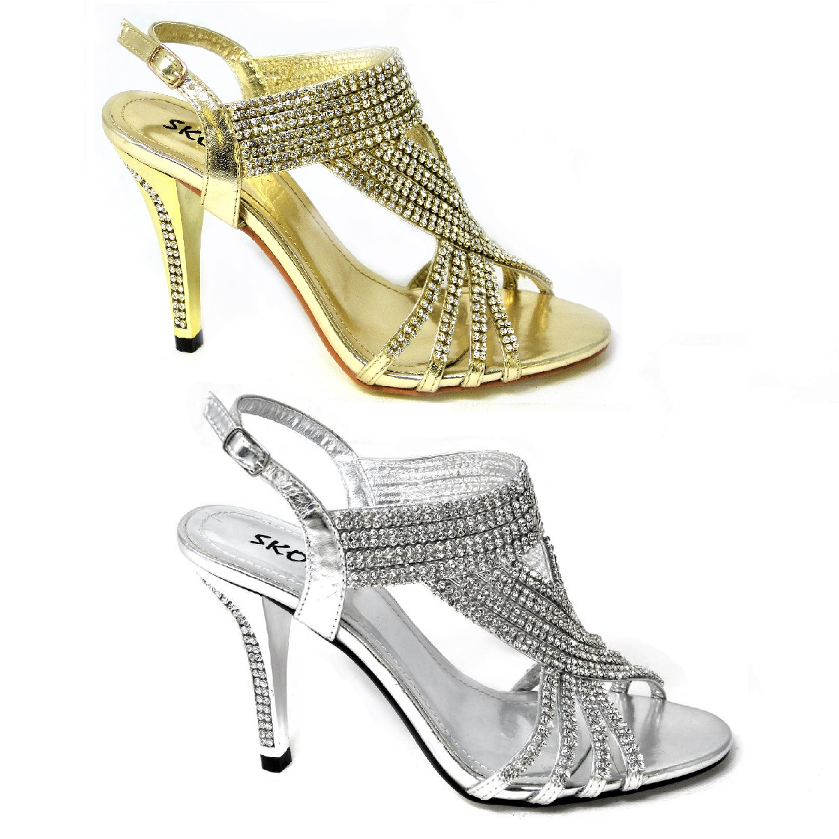 NEW LADIES WEDDING PROM EVENING PLATFORM SHOES DIAMANTE MID HEELS SIZE 3-8