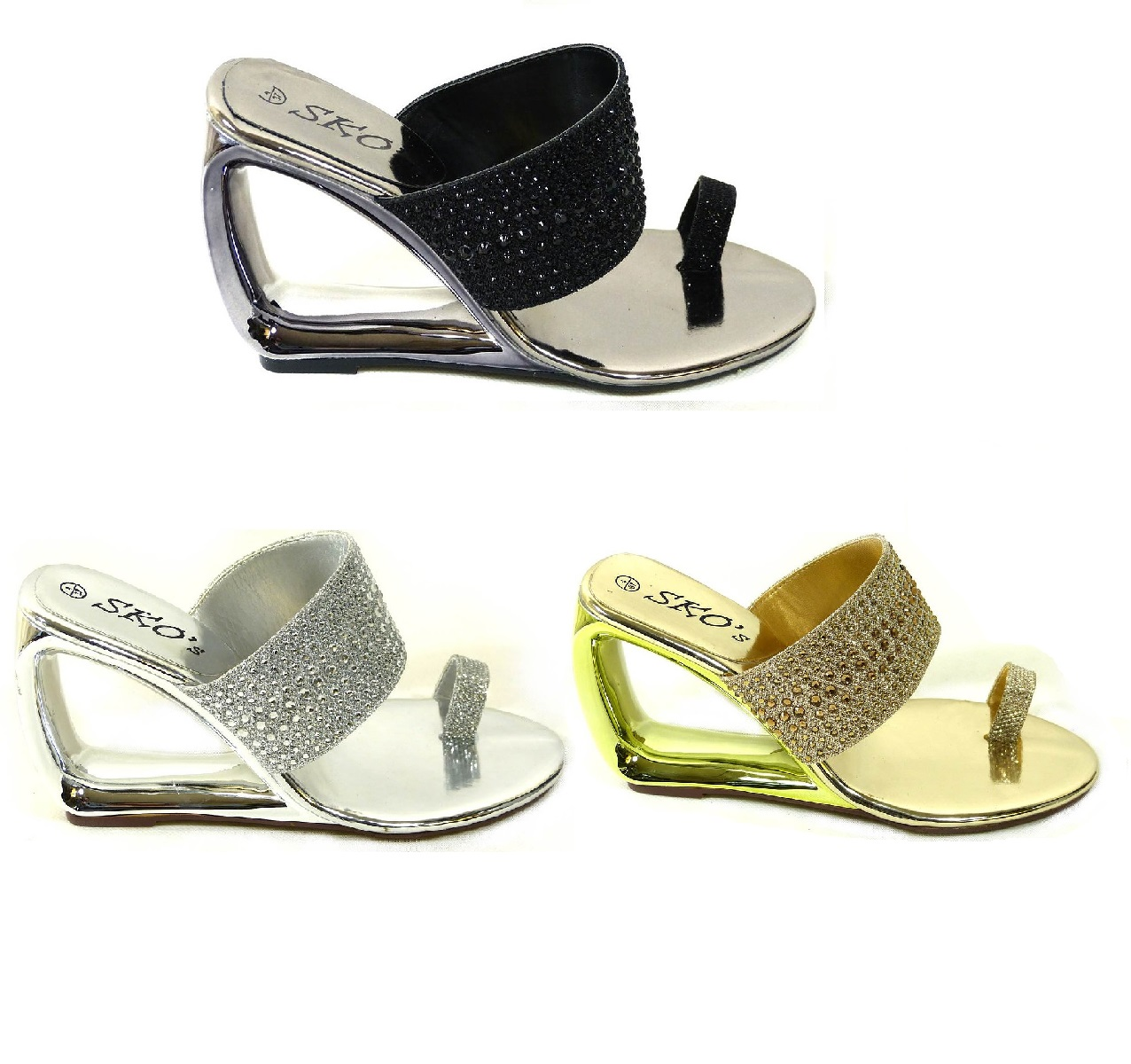 3efe5987c86e0 LADIES TOE POST WEDGE SANDALS WOMENS HIGH HEELS FANCY EVENING PARTY SHOES  SIZE