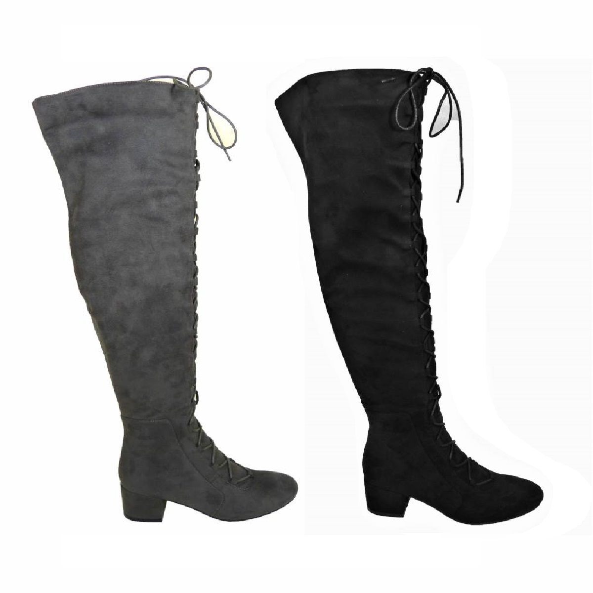 Ladies Women Thigh High Over The Knee Mid Block Heel Boots Lace Up Shoe Size 3-8