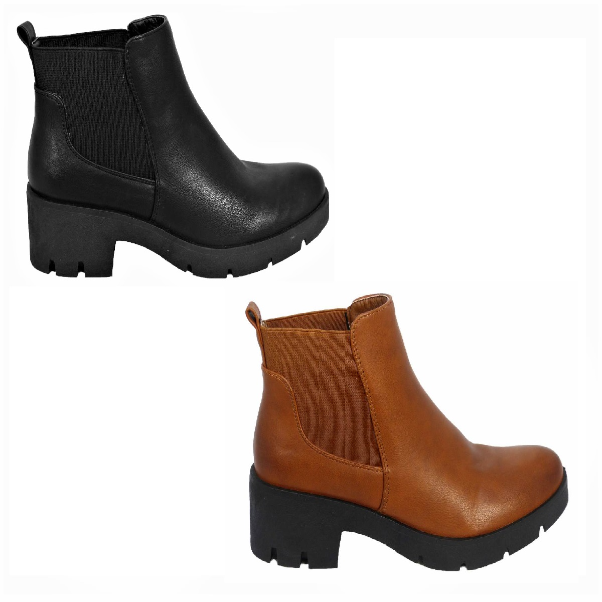 431e765600c Details about New Womens Ladies Chunky Block Heel Grip Sole Chelsea Ankle  Boots Shoes Size 3-8