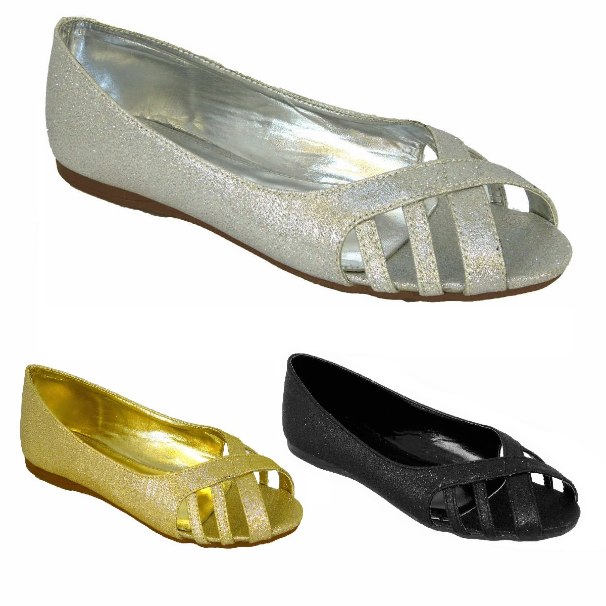 WOMENS FLAT SILVER SLIP-ON WEDDING BRIDAL COMFY LOAFER PARTY BALLET SHOES UK 3-8